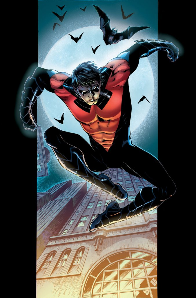 Apparently Dick Grayson went into the future and stole some of Batman Beyond's costumes...